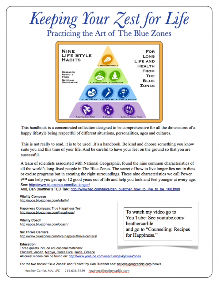 Keeping Your Zest for Life Handbook - uses the Nine Habits Pyramid of a Healthy Lifestyle