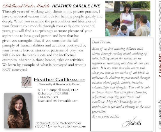 Childhood Role Models workshop with Heather Carlile Recorded Live  Part I