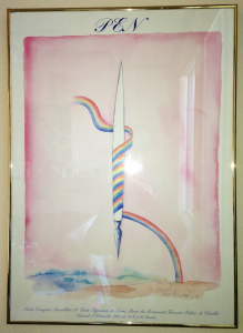 This hangs in my home office: A French poster from 1981: PEN. Poetes, Essayistes, Nouvellistes