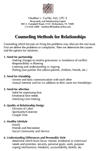 Counselling Methods for Relationships